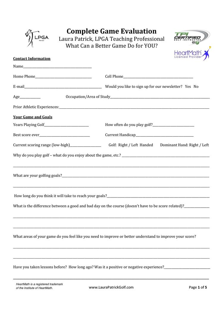 Laura Patrick Game Evaluation Form